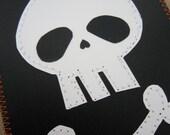 Skull and Crossbones Notebook . Large Moleskine . Black