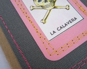 Skull Journal . Small Moleskine . Stitched Loteria Skull and Crossbones . Lined Pages