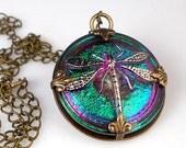 Raspberry Teal Dragonfly Necklace Czech Glass Oxidized Brass Vintage Inspired Necklace Jewelry