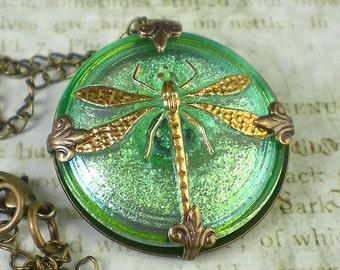 Dragonfly Necklace Sea Green Czech Glass Button Oxidzed Brass Vintage Inspired Jewelry Prom Wedding