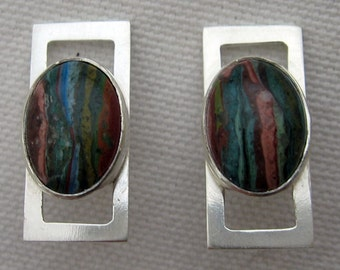 Rainbow Caltrite and Sterling Silver Post Earrings