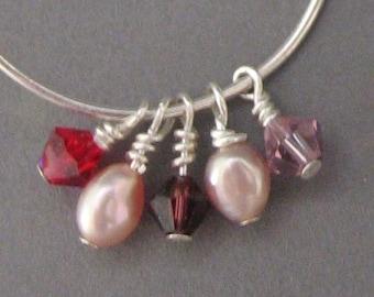 Juliet Earrings - Pink, Mauve, Purple