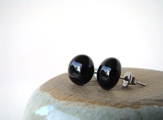round black fused glass post earrings 10mm diameter