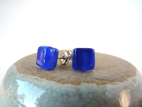 square cobalt blue glass stud earrings 8mm x 8mm