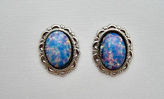 Vintage Stud Earrings - Pierced - Faux Blue Opals - US Shipping Included