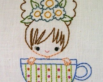 Teacup Tea Party  Cutesie Girls Digital Embroidery Patterns