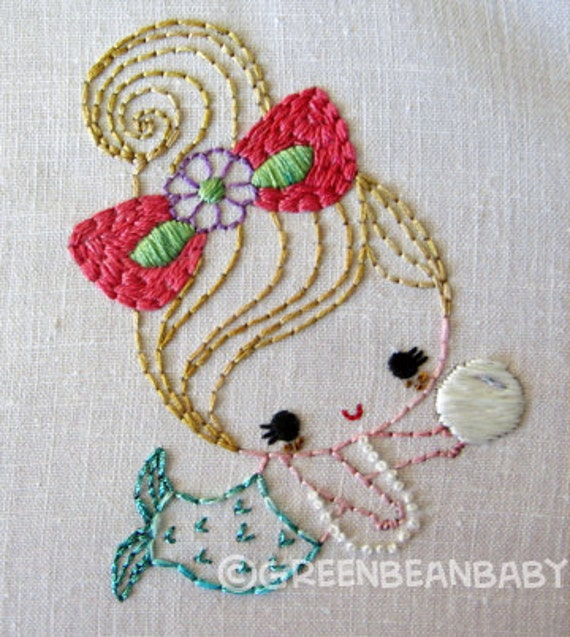 Mermaid girls Cutesie Digital Embroidery Patterns