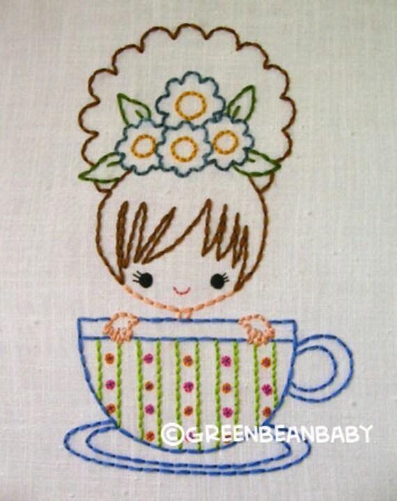 Teacup Tea Party  Cutesie Girls Digital Embroidery Patterns