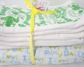Set of 3 altered burp cloths and a receiving blanket baby boy green frogs