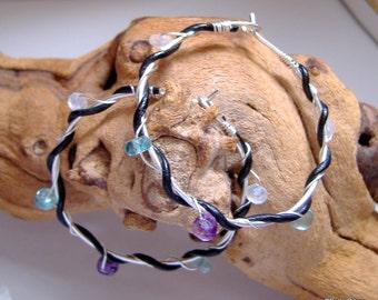 Leather Wrapped Sterling Hoop Earrings