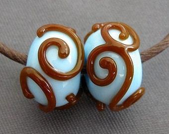 Elizabeth Creations BROWN LACE artisan lampwork matching beads SRA - 2
