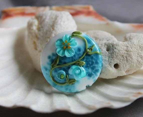Elizabeth Creations OCEAN FLORA spree focal artisan lampwork bead - SRA