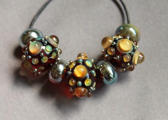 Elizabeth Creations GOLD RUSH artisan handmade lampwork beads SRA