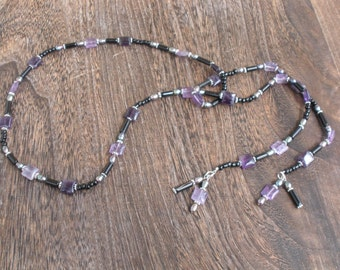 Purple Rain - Lariat Necklace and Earring Set