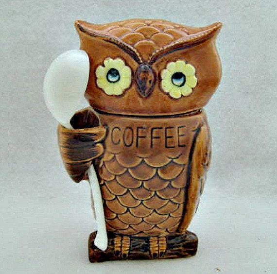 Owl Vintage Coffee Jar Cannister - Never Used in Original Box