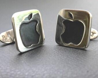 Sterling Silver Apple cufflinks