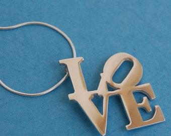 Sterling Silver Love Pendant & chain Inspired by the NY sculpture by Robert Indiana