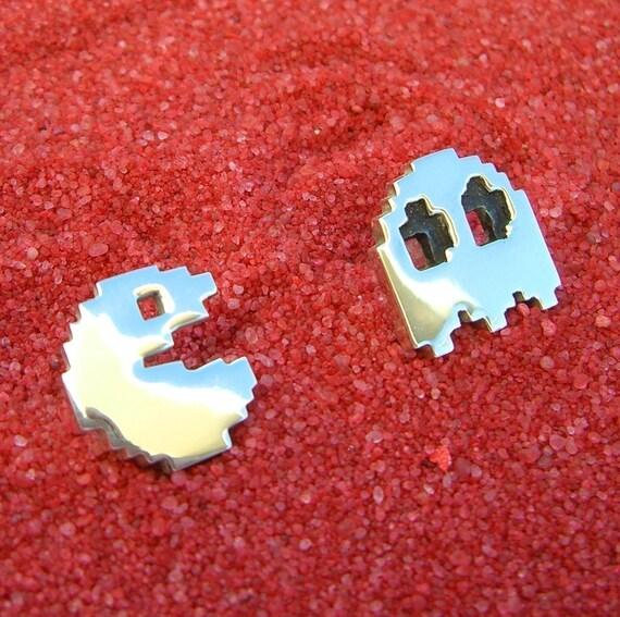 Sterling Silver Pacman  Cufflinks