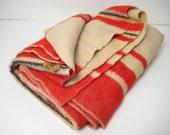 Faribo Wool Blanket Red Black Striped