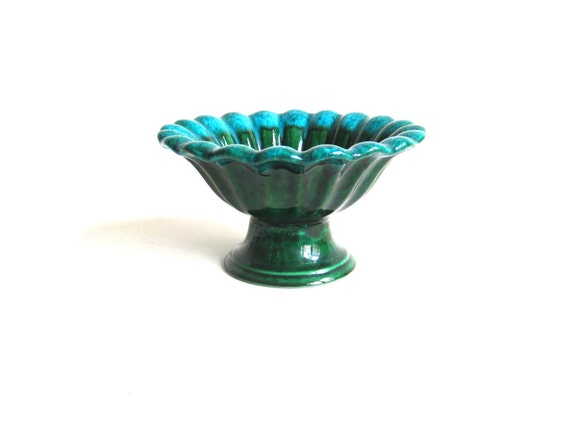Green Ceramic Haeger Pedestal Planter