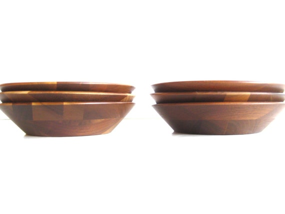 Set of 6 Wood Salad Bowls