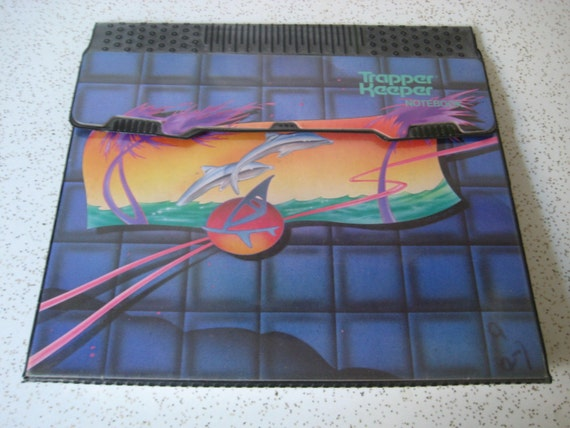 Retro 1980s dolphin trapper keeper for Trapper keeper 2 sewn binder with exterior storage