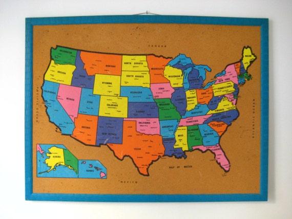 Classroom Decor Usa ~ Map of u s a cork bulletin board vintage