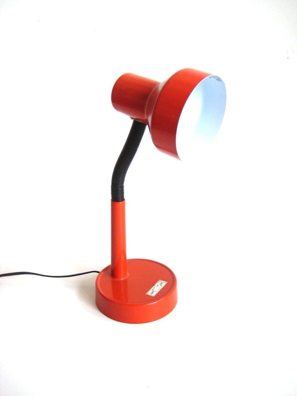 Red Metal Gooseneck Desk Lamp