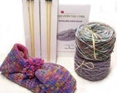 Knitting Kit Lined Slippers Wool Colorway, Birch Trees Includes 2 Sets of Wood Needles and Instructions