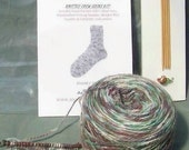 Sock Yarn Knitting Kit With Needles Style, Motley Crew, Colorway Birch Trees