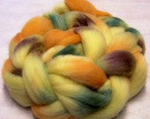 Merino Roving Wool Top Handpainted 4 oz Colorway, Pumpkin Patch