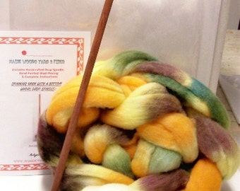 Large Spindle Yarn Spinning Kit Colorway,Pumpkin Patch, Free Shipping