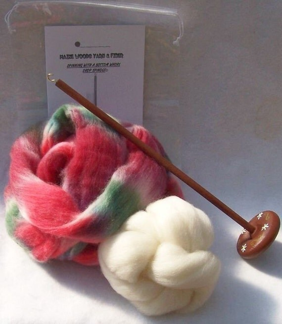 Large Spindle Drop Spindle Yarn Spinning Kit Colorway, Apples and Plums, Available in Either Top Or Bottom Whorl