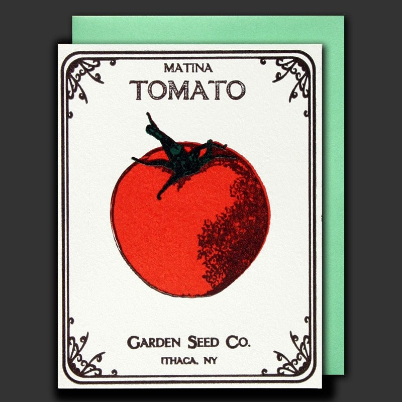 letterpress tomato seed packet card