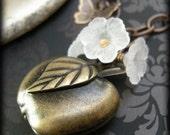 Apple And Sage Locket Necklace - Vintaj Brass, And Acrylic Flowers.