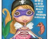 A Portrait of a Piratefairysuperheroballerinamermaid and Her Seahorse Sidekick