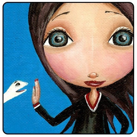This Is A Print Of A Girl Who Told A Sockpuppet To Talk To The Hand