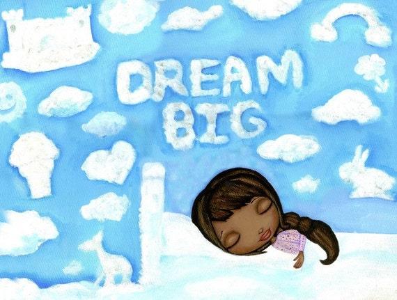 与非洲裔美国小女孩一起梦想大艺术版画