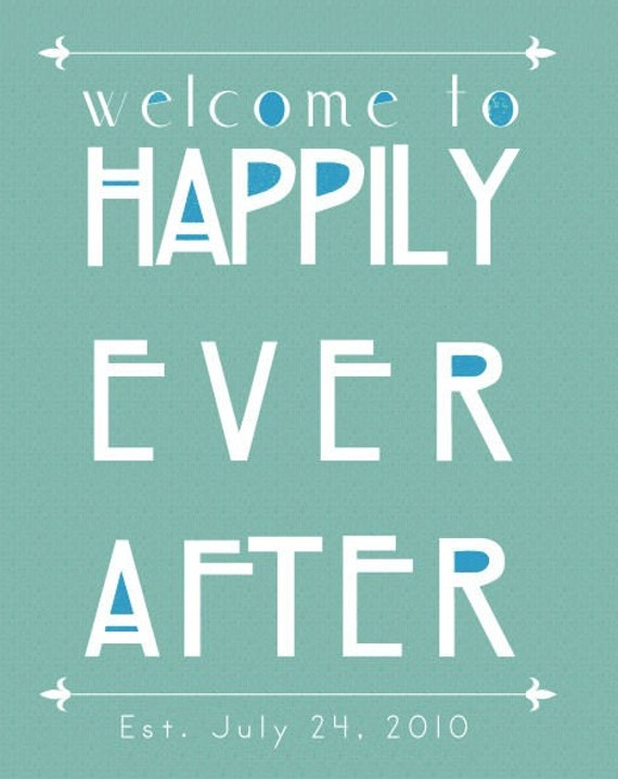 Happily Ever After Personalized Customizable Art Print Wedding Gift