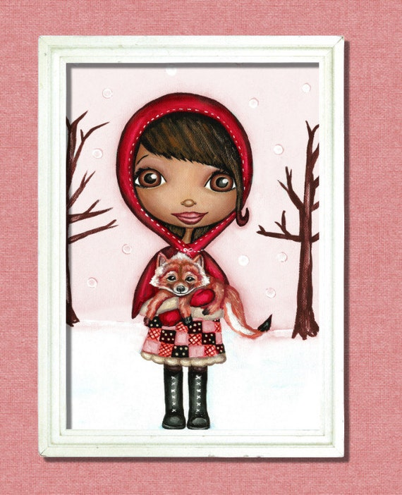 Little Red Riding Hood And Little Red Fox Art Print