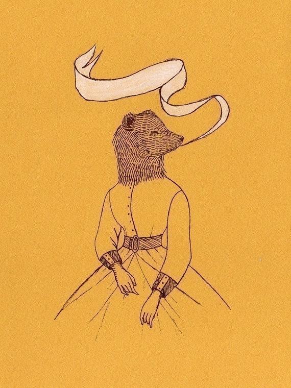 Bear Ladywith White Ribbon