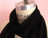 Soft Black Silk Chiffon Scarf