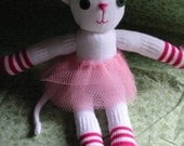 RESERVED for Etsy User Laycee Sock Kitty Kiera in White and Pink
