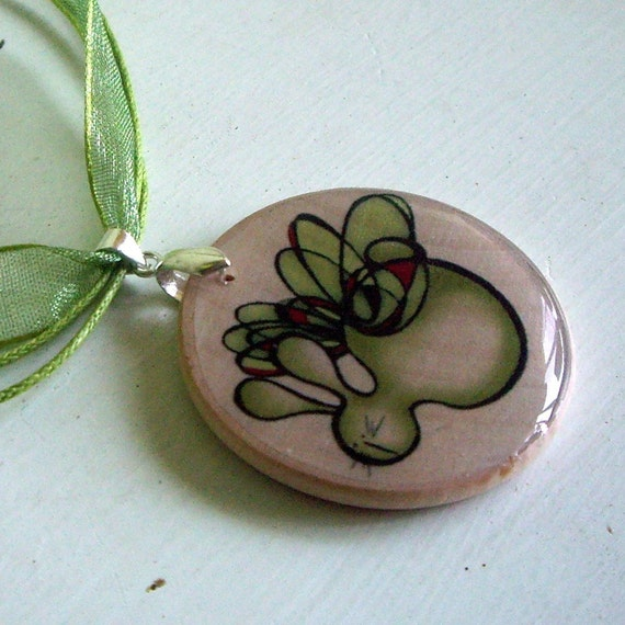 Wood  Pendant Necklace with Flying Rabbit - Easter Jewelery - Easter Decorations