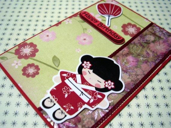Birthday - Red Kimono Japanese Girl Handmade Card