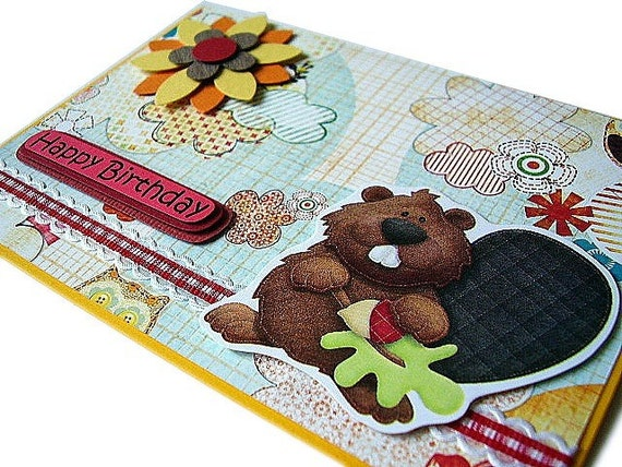 Birthday - Cute Squirrel Handmade Card