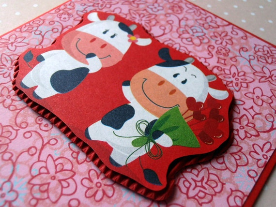 25% OFF Cyber Monday Etsy Cows in Love Happy Valentine's Handmade Card, A6 Blank Card, Red, For Him / For Her