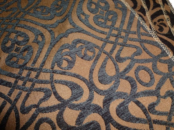 Fabric Destash Lot  Decorative Scroll Fabric in Black and Brown.  FREE SHIPPING.