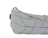 Slouch Bag - Black White geometric pattern - Triangles Lines Hobo Cotton Polyester