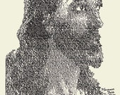 Image of Jesus made out of Bible Verses, I Cor 13 BABB